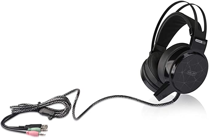 Modenny Wired Gaming Headset Deep Bass Game Earphone Computer Headphones with Microphone LED Light Headphones for Computer Color : Black