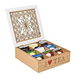 Mind Reader Tea Bag Storage Holder Box with Wood