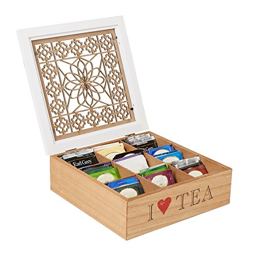Mind Reader Tea Bag Storage Holder Box with Wood Floral Pattern, Brown