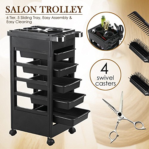 New 32″ Trolley Equipment Rolling Storage Tray Cart – Beauty Salon Spa Styling Station – 14.8 x 10.6 x 2.6'' (LxWxH) Black, Durable For professionals