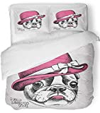 Emvency 3 Piece Duvet Cover Set Breathable Brushed Microfiber Fabric Vintage Portrait of French Bulldog Wearing Pink Elegant Women's Hat Animal Bow Bedding Set with 2 Pillow Covers Full/Queen Size