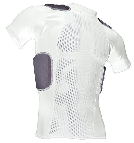 Cramer Lightning 5 Pad Football Shirt with Integrated Rib, Spine and Clavicle Pads, Football Padded Compression Shirt, Rib Protector Shirt, Padded Basketball Shirt, Protective Gear, White, Medium
