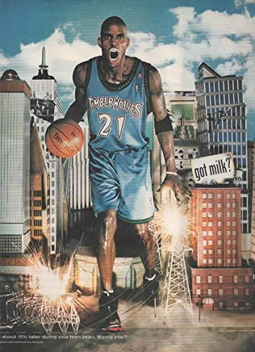 Magazine Print Ad: 2001 Forward Kevin Garnett, Minnesota Timberwolves, Got Milk?, Sparking Downed Power Lines and Towers,
