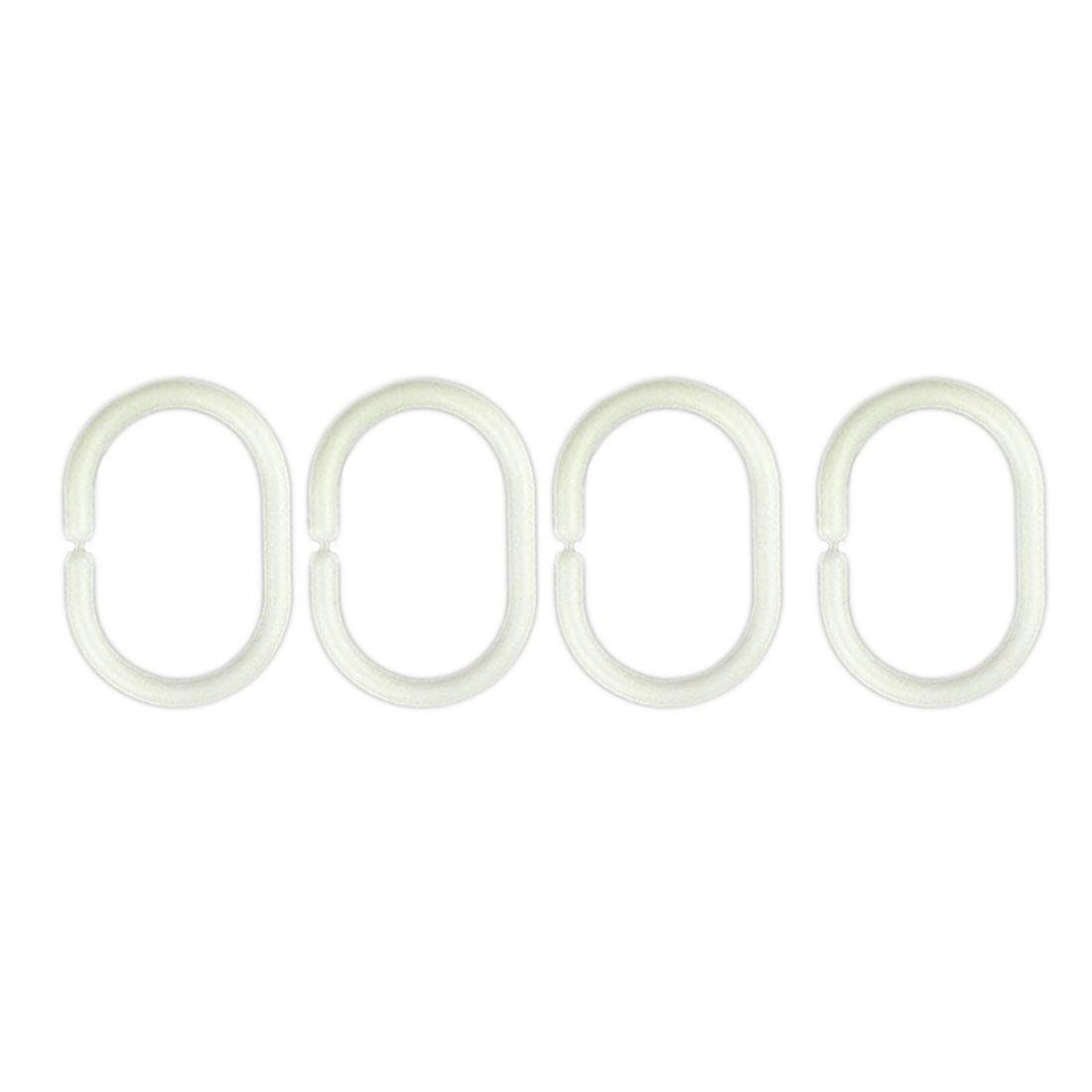 C Type Shower Curtain Hooks Shower Curtain Ring White 12 Pcs Luwu-Store