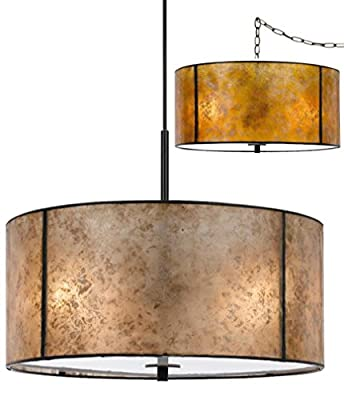 "2 Colors (Amber or Silver) PLUG IN or DIRECT WIRE - Mica Drum Pendant Light Chandelier Fixture Round Cylinder Barrel 18"" Wide"