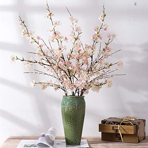 YUYAO Artificial Cherry Blossom Flowers, 4pcs Peach Branches Silk Tall Fake Flower Arrangements for Home Wedding Decoration,41inch (Light Pink 1)