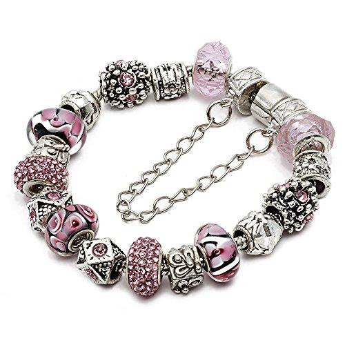 Dangle Crystal Strands (RUBYCA Silver Tone European Charm Bracelet 8.3