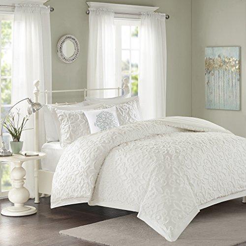 Tufted Comforter (Madison Park Sabrina Comforter Set King/Cal King Size - White, Medallion – 4 Piece Bed Sets – 100% Cotton Teen Bedding For Girls Bedroom)