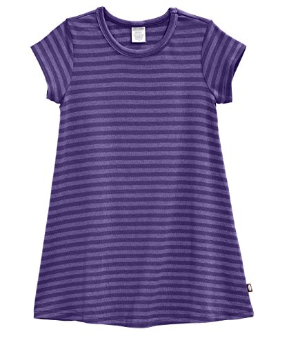 City Threads Little Girls' Cotton Short Sleeve Cover Up Dress for Sensitive Skin SPD Sensory Friendly, Stripe Purple 3T