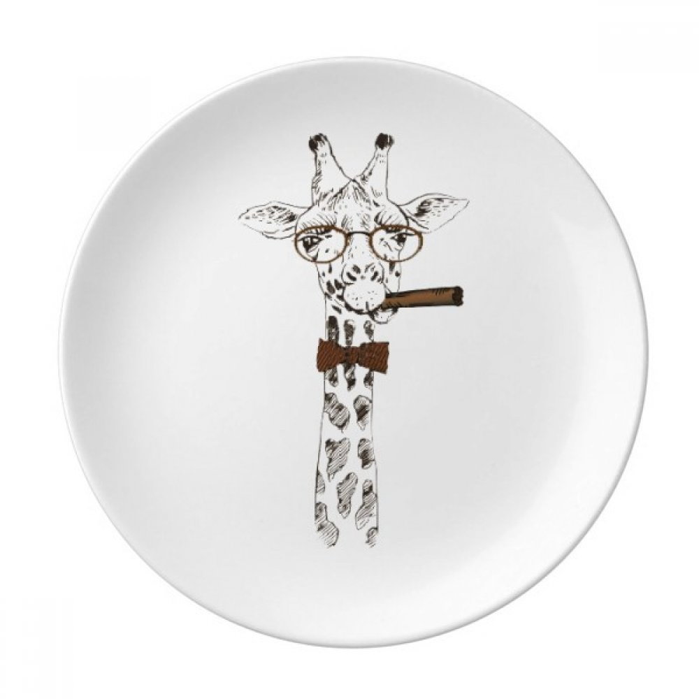 Deer Animal Head Artistic Effect Colourful Dessert Plate Decorative Porcelain 8 inch Dinner Home