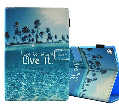 All-New Amazon Fire HD 8 Case Cover (2015/2016/2017/2018)- Mash-up PU Leather Slim Folding with Auto Wake/Sleep Protective Cover for Amazon Fire HD 8,Beach
