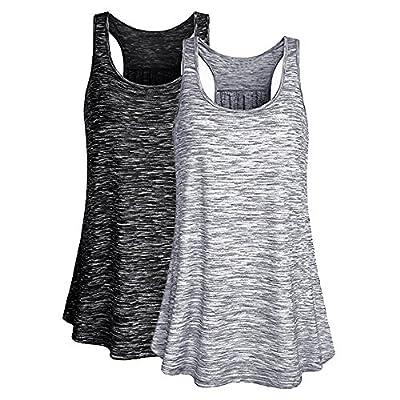 laamei Femme Débardeur T-Shirt Gym sans Manches Top de Sport Gilet Lâche Veste Tank Elastic pour Running Yoga Fitness
