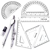7 Piece Geometry School Set,with Quality Compass, Linear Ruler, Set Squares, Protractor,