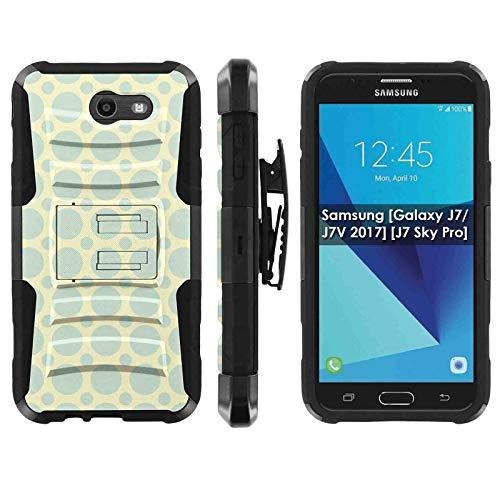 (TalkingCase Phone Case for SamsungGalaxy (J7 2017) (J727),Perx,Sky Pro,J7V (2017),Halo-Cricket,Prime,Black Premium Dual Layer Armor Case,Turtle Shell Circle Green Print, Design in USA)
