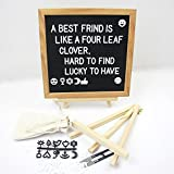 Changeable Letter Board by Crystal Lemon, Felt Letter Board, 10x10 inches, Changeable Wooden Message Board Sign, Oak Wood Frame, Wall Mount, with Display Stand and Scissors(Black)