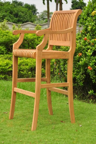 TeakStation Grade-A Teak Wood Outdoor Patio Garden Giva Arm/Captain Bar Chair (30
