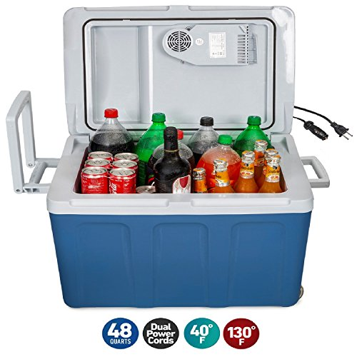 K-Box Electric Cooler and Warmer with Wheels for Car and Home - 48 Quart (45 Liter) - 6 FT. Extra Long Cables Dual 110V AC House and 12V DC Vehicle Plugs (Blue) - Open Sink Chest