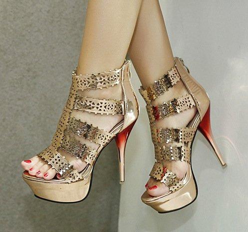 ZHUDJ Stilettos Peep Toe Heels Sandalias Zapatos,Club Golden,37 Thirty-seven|Golden