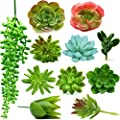 Fake Succulent Plants - Set of 11 Artificial Succulent Plants - Unpotted and Assorted with Hanging String of Pearls, Faux Succulents for Indoor/Outdoor Decor, Office and Garden Arrangements