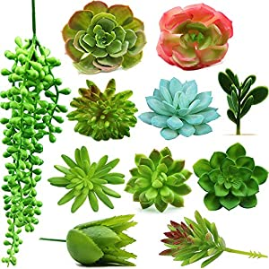 Fake Succulent Plants - Set of 11 Artificial Succulent Plants - Unpotted and Assorted with Hanging String of Pearls, Faux Succulents for Indoor/Outdoor Decor, Office and Garden Arrangements 90