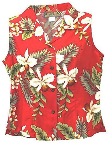 Womens Hawaiian Shirt Sleeveless Hawaiian Orchid in Red 100% Rayon