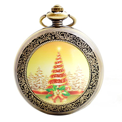 Christmas Quartz Pocket Watch - Boshiya Antique Full Hunter Steampunk Heavy Metal Pocket Watches with Chain