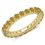 1.00 Carat (ctw) 14K Yellow Gold Round Citrine Ladies Eternity Wedding Stackable Band (Size 7)