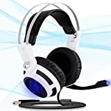 Pyle PC USB Gaming Headset - Professional Gamer USB Stereo Headphones and Microphone for Windows Mac Computer Video Games - Braided Cable and 7.1 Virtual Surround Sound Audio and Mic Set - PGPHONE80