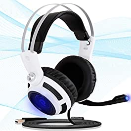 7.1 Virtual Surround USB Headset – USB Stereo Gaming Headphones and Microphone for Windows Mac Computer Video Games – Professional Gamer Braided Cable and Mic Set – Pyle PGPHONE80