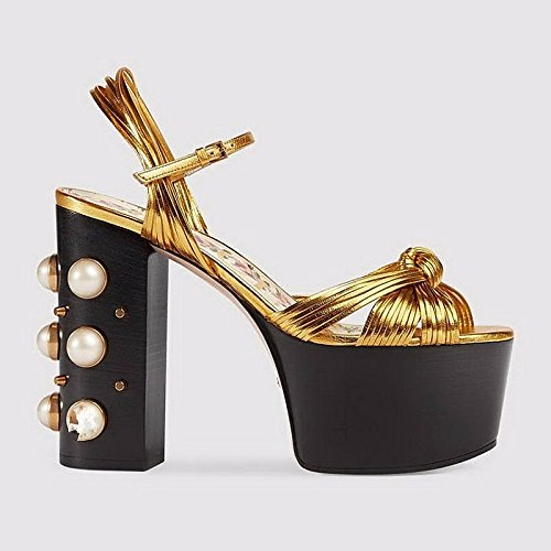 Zapatos ZHZNVX Negro sandalias Verano Primavera talón Nappa de Chunky Confort bomba Casual cuero básica Oro mujer Black cuero dwPrvZwq