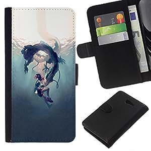 KLONGSHOP // Tirón de la caja Cartera de cuero con ranuras para tarjetas - Underwater Fairytale Story Niños - Sony Xperia M2 //