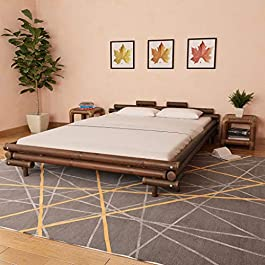 Bamboo Bed 160×200 cm Dark Brown Furniture Beds & Accessories Beds & Bed Frames