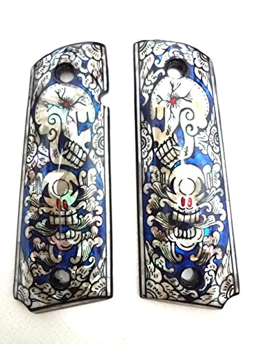 Blue Skull Grips - Mother of Pearl Inlay 1911 Grips Blue Skull Fit with Colt S&W Kimber Springfield
