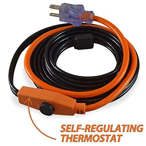 9 Feet GardenHOME Pipe and Valve Heating Cable Tape with Built-in Thermostat 9Feet Black Aspectek Heating Cable Tape 9 Feet
