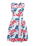 AIIT Womens Summer Floral Fit and Flare Dress with Adjust Sash
