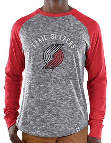 Majestic Portland Trail Blazers NBA Exposure Men's Long Sleeve Gray Slub Shirt
