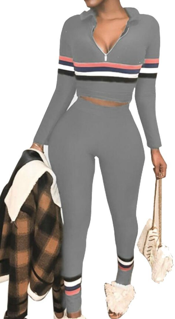 Zantt Women Casual Two Pieces Striped Zipper Tops + Pants Sweatsuit Outfit Set