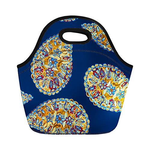 Semtomn Neoprene Lunch Tote Bag Hand Floral Pattern Paisley Frowers Tulips Freehand Watercolor Vintage Reusable Cooler Bags Insulated Thermal Picnic Handbag for Travel,School,Outdoors,Work