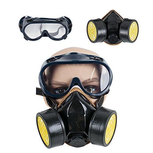 (Respirator Gas Mask with Safety Goggles, ixaer Industrial Gas Chemical Dual Anti-Dust Respirator Mask Goggles Set Anti-Poison Respirator Mask)