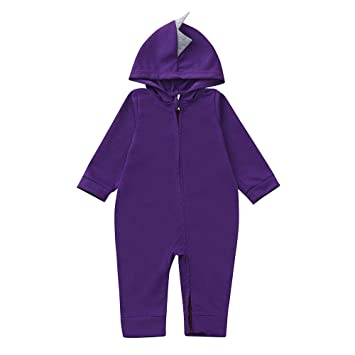 2c4fdd342 Amazon.com : Unisex Baby Pajamas, Zip Front Non-Slip Footed Sleeper PJs,  Winter Dinosaur Romper Hoodie Jumpsuit (9-12 Months, Purple) : Beauty