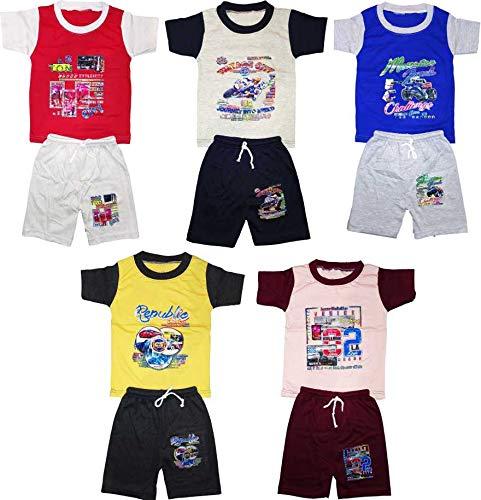KIFAYATI BAZAR Kids Boys Girls Unisex Tshirt Shorts Combo Bottom Multicolor Pack of 5