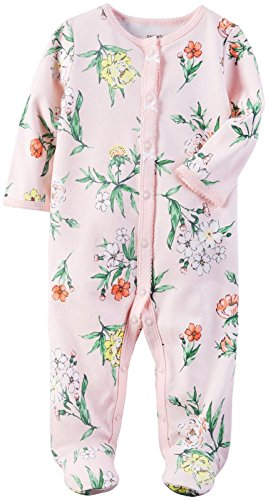Carter's Baby Girls' Interlock 115g213, Pink, 6M (Pajamas Preemie)
