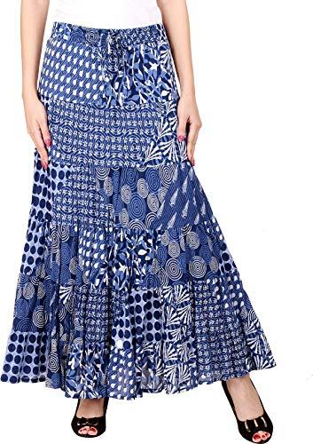 COTTON BREEZE Women's Cotton Patch Print Maxi Skirt M Blue