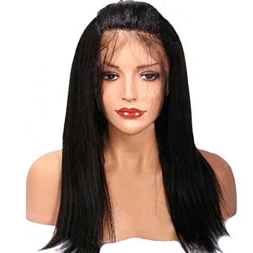 LiyaHair Free Part Lace Front Wig Kinky Straight Synthetic Heat Resistant Yaki Hair Wigs with Baby Hair (18 inch, Jet (Wholesale Synthetic Wigs)