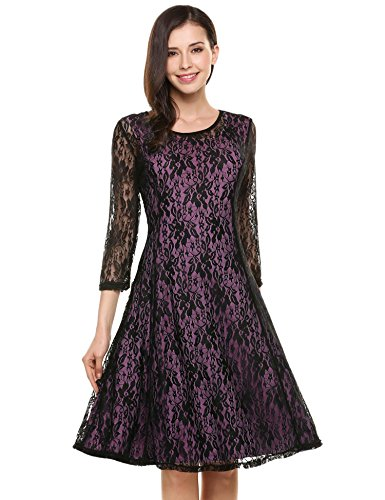 4 Swing Style Dress Party Floral Beyove Cocktail 3 Dress Women Red 3 Sleeve Mini Lace 70W0PwUxz