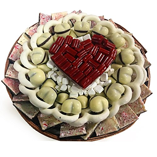 Nestled Hearts (The Nuttery Valentines Day Premium White Chocolate and Heart Candies Circular Gift Tray Set)