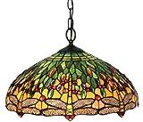 Amora Lighting AM1027HL18 Tiffany Style Dragonfly Pendant Lamp - 18