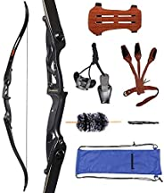 """Huntingdoor 56"""" Recurve Bow Set Archery Takedown Bow Hunting Bow Shooting Target Practice 30-50 lbs for R"""