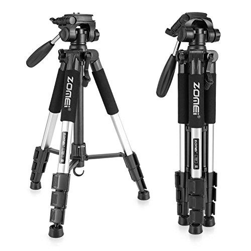 Compact Tripod, ZoMei 56 inch Aluminium Lightweight Camera Travel Tripod with 1/4 Mount 3-Way Pan Head for DSLR Canon Nikon Sony DV Video (Silver)