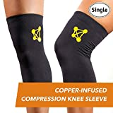CopperJoint Copper-Infused Compression Knee Sleeve, Promotes Increased Blood Flow to the Knee While Supporting Tendons & Ligaments for All Lifestyles, Single Sleeve (Medium)